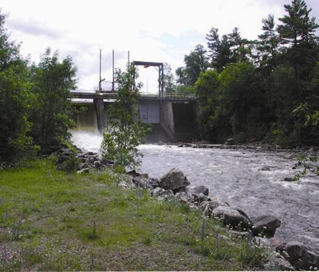 Run-of-river: Uses only the water that is available in the natural flow of the river, and implies that there is no water storage and that power fluctuates with the stream flow.