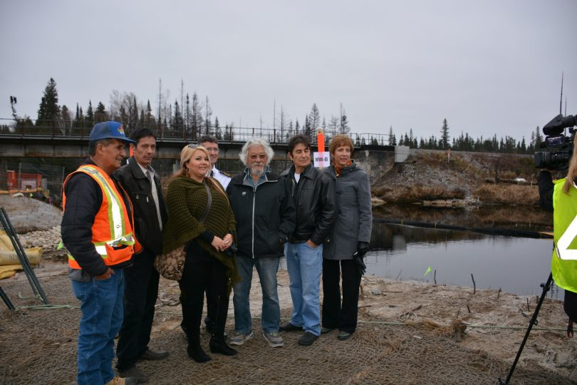From left to right... Leonard Naveau Mattagami First Nation Elder, Chad Boissoneault, Jennifer Zen Constant both councillors of Mattagami First Nations, Gogama Fire Chief Mike Benson, Dr. David Suzuki, Mattagami First Nation's Chief Walter Naveau and Nickel Belt riding MPP France Gellinas.